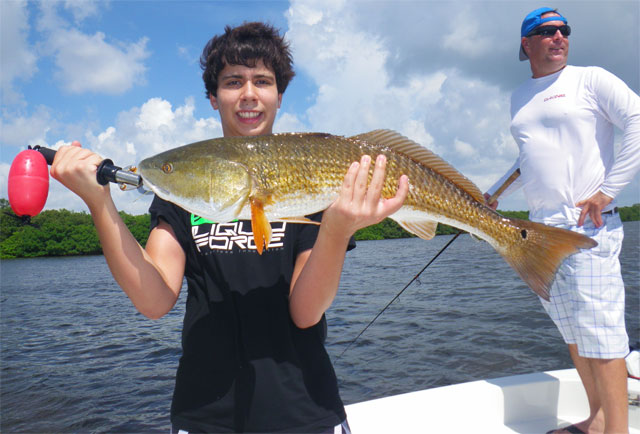 Fishing in Tampa Bay on my guided charter catching Redfish