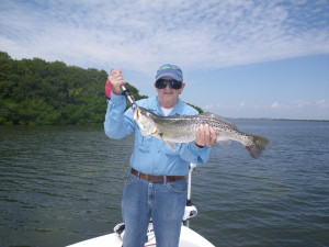 Jerry with a nice 8lb Speckled trout fishing in St. Petersburg